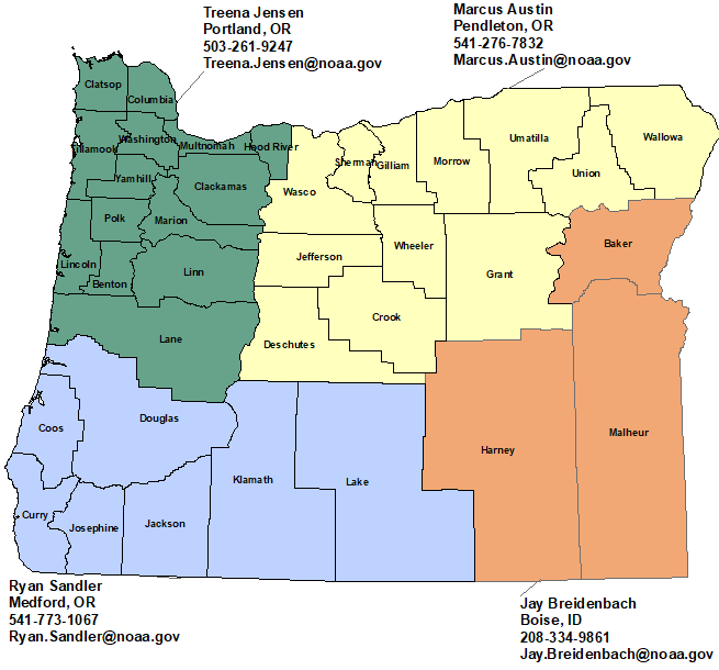 Oregon StormReady Contact map