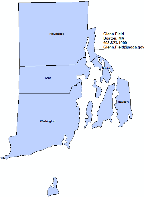 Rhode Island StormReady Contact map