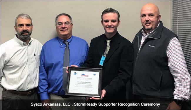 Sysco LLC, AR, StormReady Supporter Recognition Ceremony