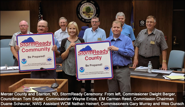 Stanton and Mercer County, ND, StormReady Ceremony