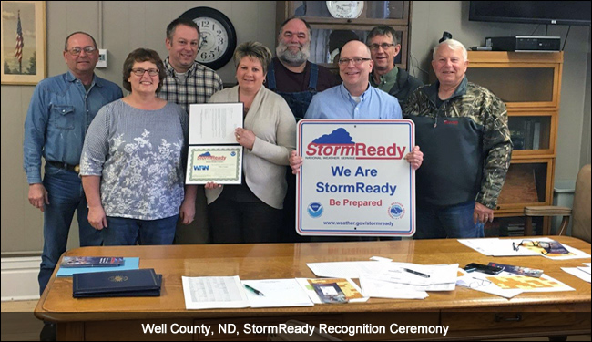 Wells County, ND, StormReady recognition ceremony