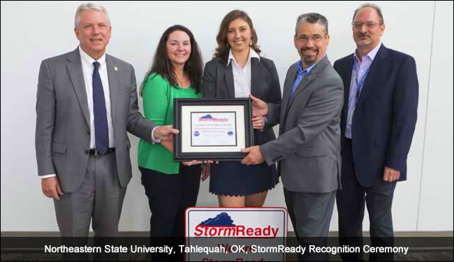 Northeastern State University in Tahlequah, OK, StormReady recognition ceremony