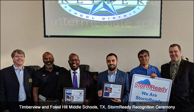 Timberview and Fossil Hills Middle Schools, TX, StormReady recognition ceremony