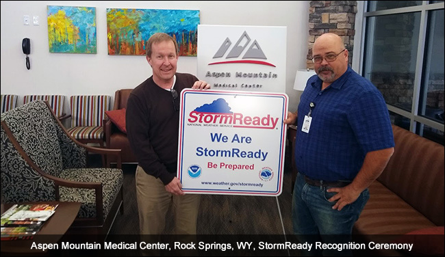 Aspen Mountain Medical Center, Rock Springs, WY, StormReady Recognition Ceremony
