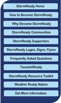 StormReady Navigation bar, hover for links