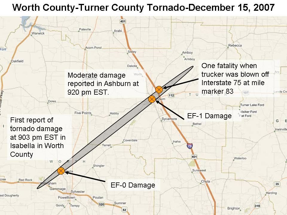 Damage paths of the tornado of December 15-16, 2007, indicated by the charcoal gray ovals. Click on the image for a larger view.