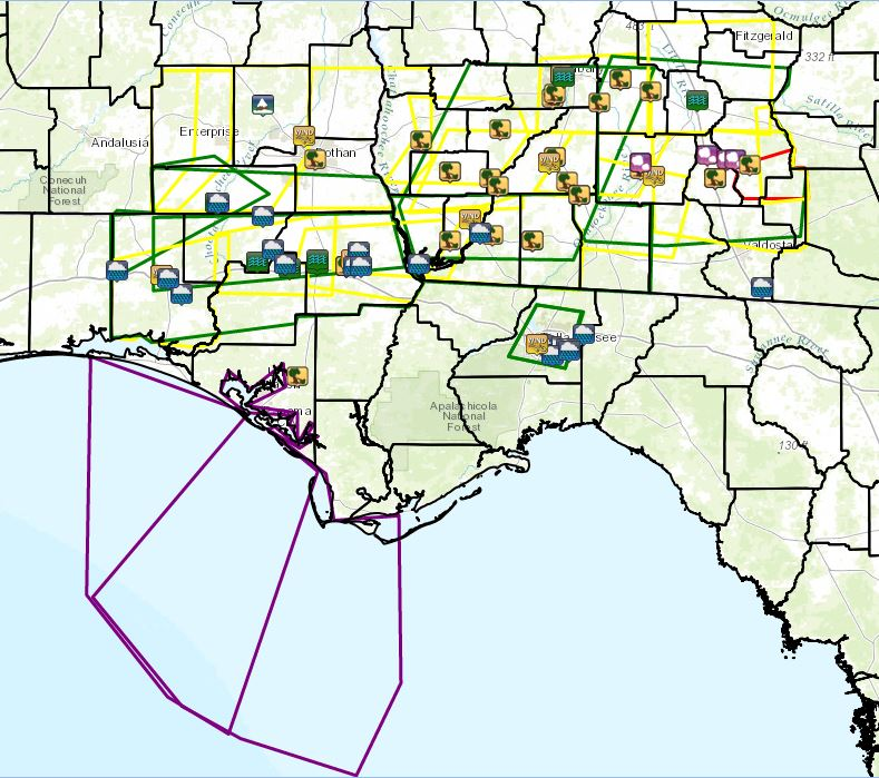 Warning polygons issued by WFO Tallahassee on February 18-19, 2012. Severe (yellow), tornado (red), flood (green), and special marine (purple) warnings are depicted. Locations of reported severe weather and flooding are shown by the icons. Click for a larger view.