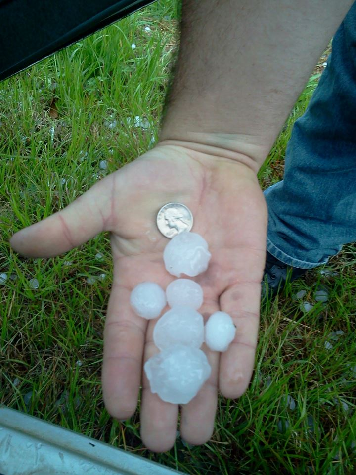 Golf-ball size hail that fell in Berrien County, GA on March 23, 2013. Note that several hail stones are larger in diameter than the quarter.