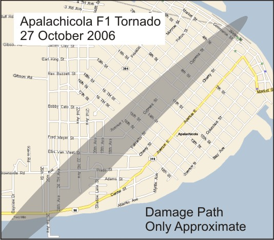 This image depicts the damage path of the tornado that hit Apalachicola, FL, on Friday, October 27, 2006.