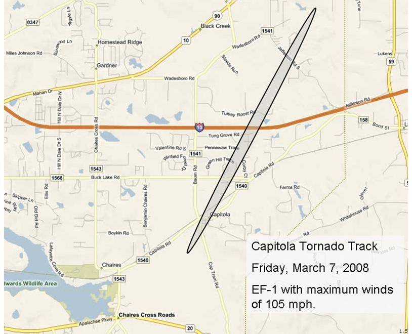 Track of the EF-1 tornado that touched down in Eastern Leon County, FL, on March 7, 2008. The shaded oval indicates the damage path.