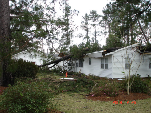 Damage to a home near Clyattsville, GA, from a severe thunderstorm that moved through the area around midday on February 26, 2008.