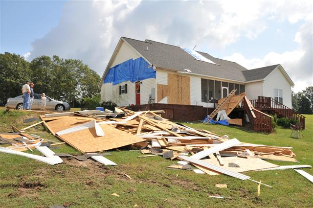 Tornado damaged a home and carport in Henry County, AL.