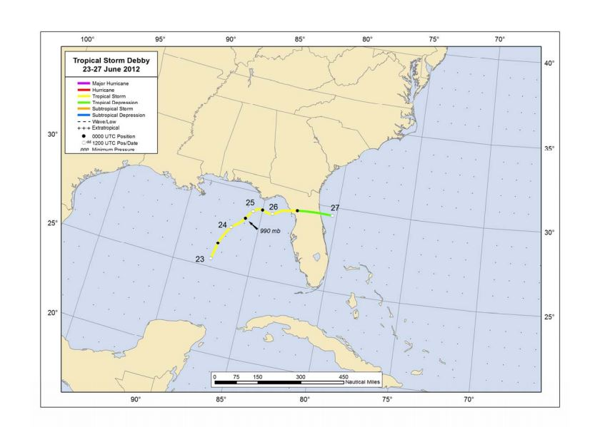 Preliminary unofficial track of Tropical Storm Debby.