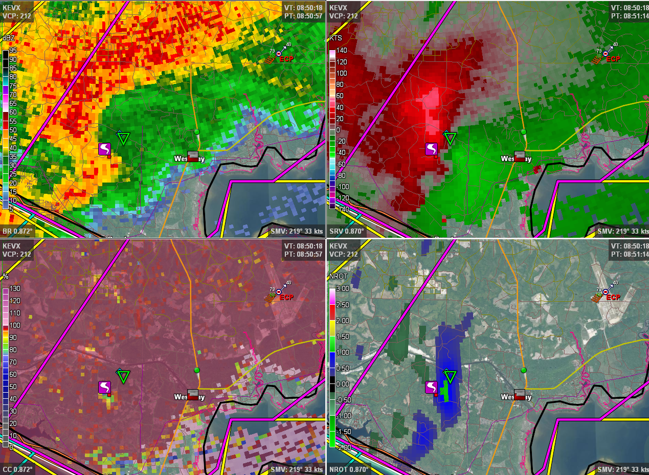 A 4-panel image from theEglin AFB , FL (KEVX) radar valid 851 UTC 17 November 2014. Clockwise from top left, the images depict base reflectivity, storm-relative velocity, rotational velocity and correlation coefficient, all on the 0.5-degree slice.