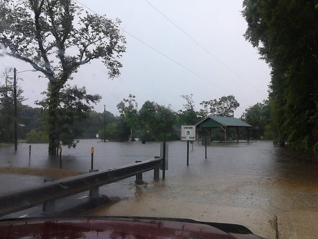 The Ebro boat landing on the Choctawhatchee River on July 6 while the river was in major flood. Photo courtesy of WMBB-TV.