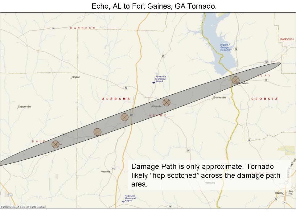 This image shows the damage path of the tornado that moved from Echo, AL, northeast across Henry County into Clay County, GA, on Thursday, March 1, 2007.  Click on the image for a larger view.