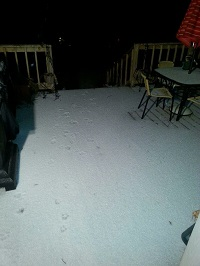 Sleet covers a deck in Enterprise, AL. Photo submitted to NWS Tallahassee via Facebook by RJ Shelley.