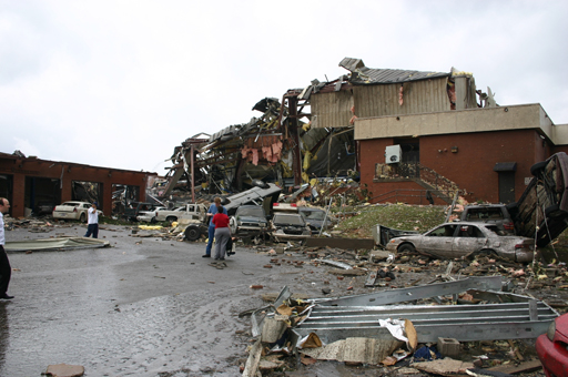 This image shows damage sustained by the Enterprise High School from the deadly tornado that struck on Thursday, March 1, 2007.