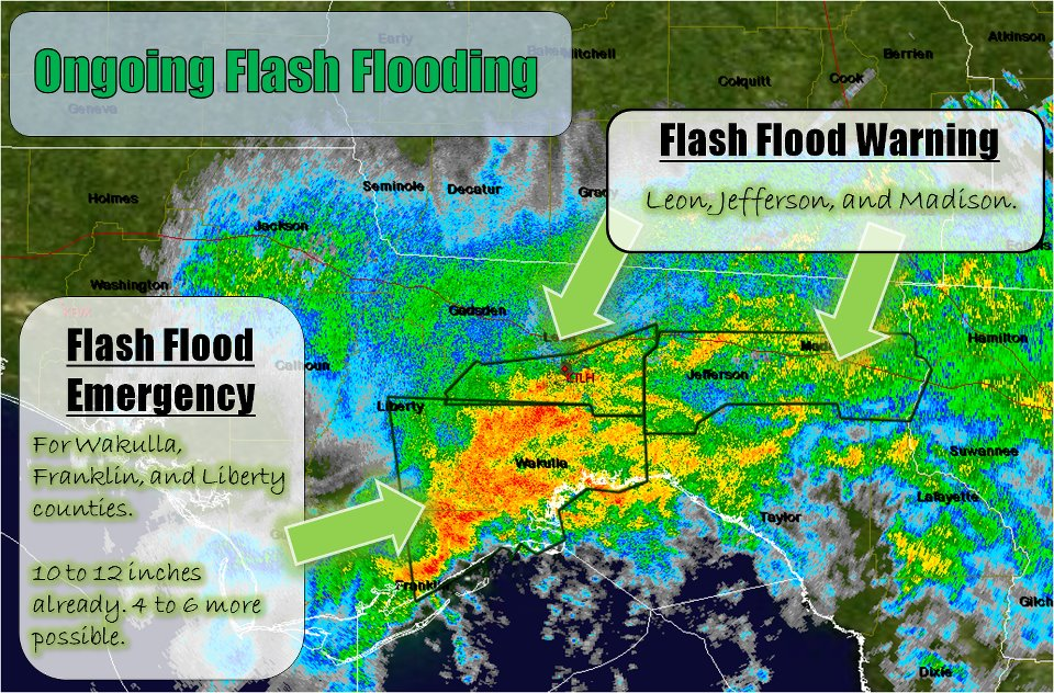 A Graphicast issued by this office on Monday, June 25, 2012, showing a band of heavy rain across the southern Florida Big Bend. Flash Flooe Emergency and Flash Flood warning polygons are indicated by the arrows.