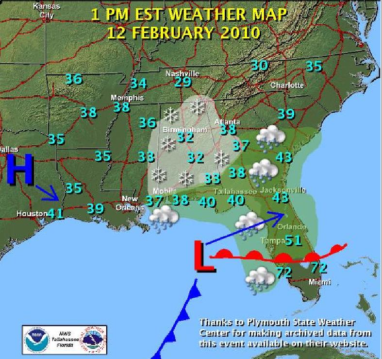 Weather Florida Map.Snowstorm Of February 12 2010
