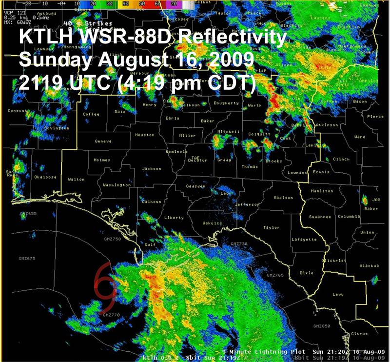 Tallahassee Doppler radar (KTLH) reflectivity on Sunday, 16 August at 2119 UTC (4:19 pm CST) with the center position of TS Claudette indicated.