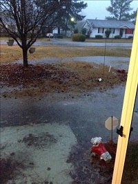 A flooded yard in Sylvester, GA on December 24, 2014. Photo courtesy of WALB-TV.