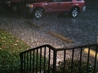 Hailstones observed in Albany, GA during the pre-dawn hours of December 23, 2014. Photo courtesy of WFXL-TV.