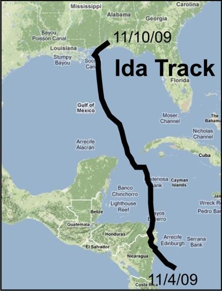 Track of Hurricane Ida.