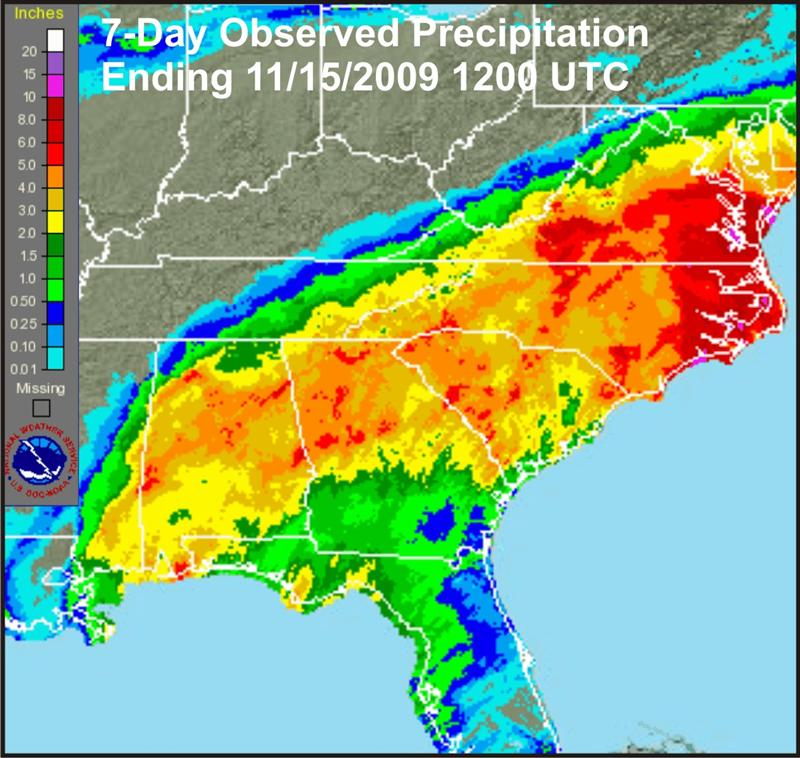 Seven-day observed rainfall ending 1200 UTC (0700 EST), 13 November 2009.