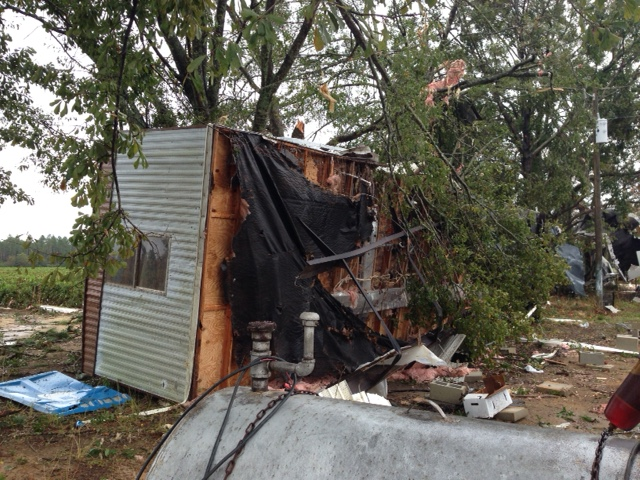 A mobile home overturned by an EF0 tornado near Laird, FL on November 17, 2014.