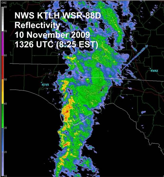 Tallahassee Doppler radar (KTLH) reflectivity image on Monday, 10 August at 1326 UTC (8:26 AM EST).