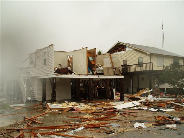 A home that was destroyed by the EF-2 tornado that struck Keaton Beach, FL, in Taylor County on March 7, 2008. Tornado warning polygons are overlaid in red.