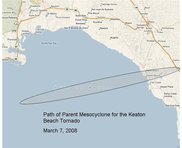 Track of the parent mesocyclone that spawned the EF-2 tornado that came ashore into Keaton Beach, FL, on March 7, 2008. The shaded oval indicates the damage path.