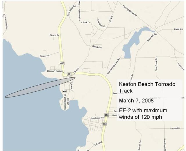 Track of the EF-2 tornado that came ashore into Keaton Beach, FL, on March 7, 2008. The shaded oval indicates the damage path.