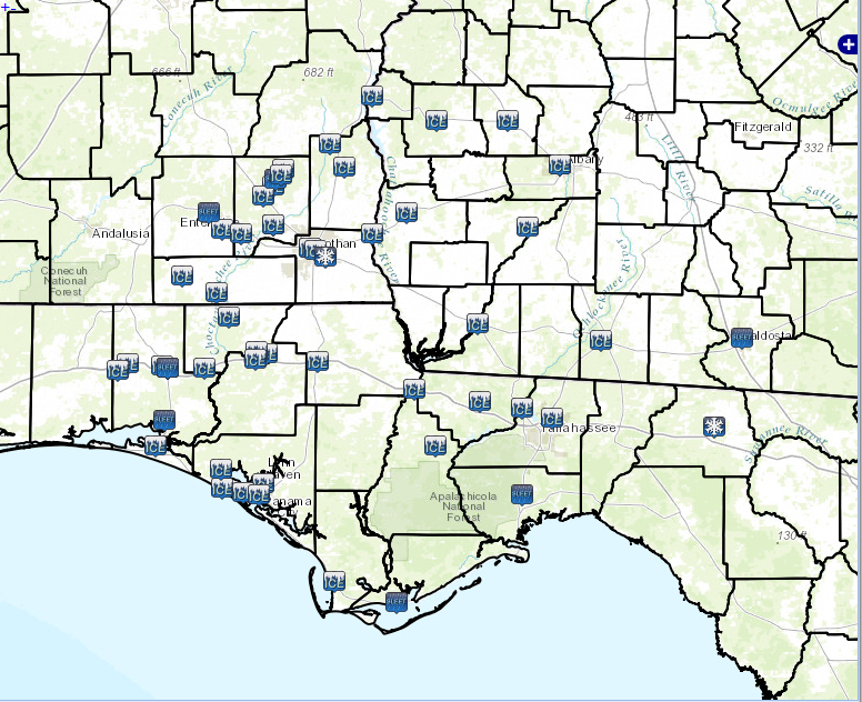 Local storm reports of freezing rain (ice), sleet and snow across the region from the winter storm of January 28-29, 2014.