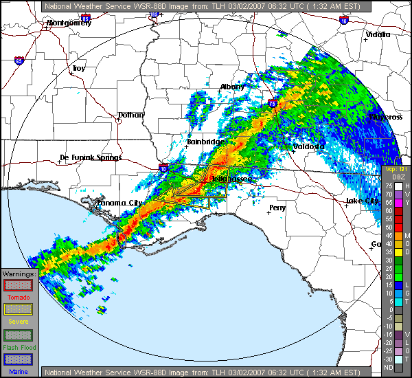 This image shows the base reflectivity from the Tallahassee, FL, Doppler Radar (KTLH) for 0632 UTC 2 March 2007.  Warning polygons are overlaid.