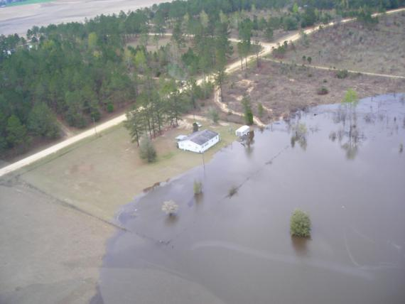 Flood waters approach a home in Madison County, FL. Photo courtesy of The Madison County Voice.