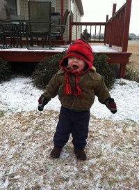 A toddler having fun in the sleet. Submitted to the WDHN Facebook page by Donna Hoolis.