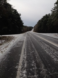 Sleet and snow on highway 167 near Enterprise, AL. Phto submitted by Skyler Lee to the WDHN facebook page.