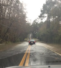 Flooding on Paul Russel Road in Tallahassee, FL on December 24, 2014. Photo courtesy of the City of Tallahassee Traffic Twitter feed.