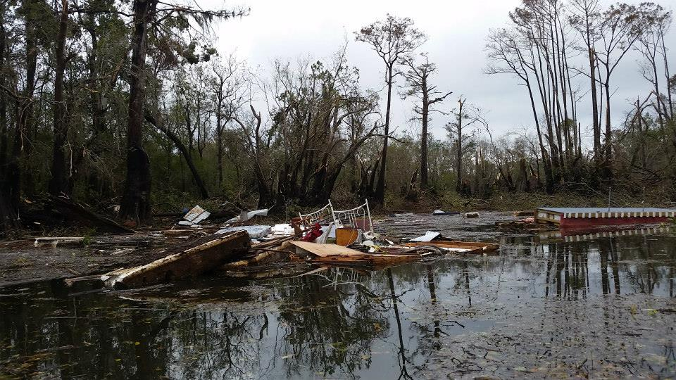 Debris from a tornado is deposited in the Apalachicola River on November 17, 2014. Click for a larger view.