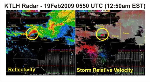 Base reflectivity and storm-relative velocity images from the Tallahassee Doppler radar (KTLH) at 0550 UTC (12:50 am EST) February 19, 2009, as the tornadic supercell tracked across Grady County, GA. Tornado warning polygon is overlaid in yellow.