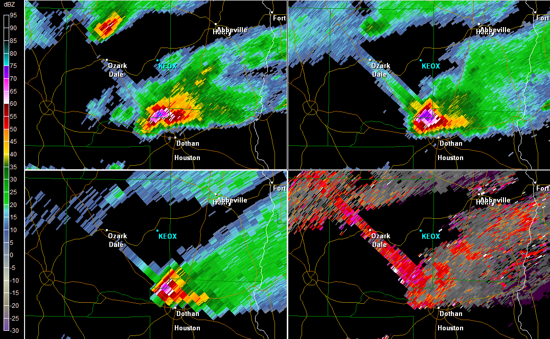 Multi-tilt reflectivity image from the KTLH Doppler radar showing a super cell displaying a TBSS just north of Dothan, AL at 250 PM EDT on March 27, 2011. Note that the 0.5-degree SW image is displayed in the lower right panel.