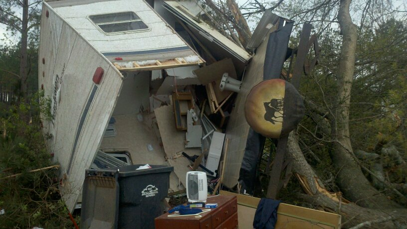 Damage from an EF-1 tornado that touched down near Benevolence, GA, during the evening of March 26, 2011.