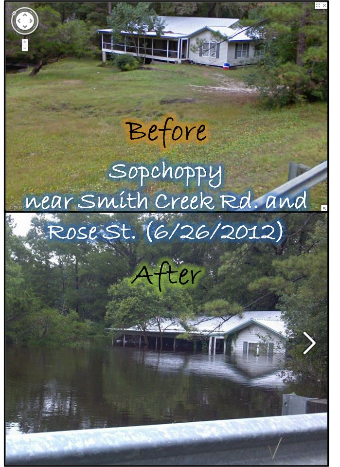 Before and after pictures showing flooding in Sopchoppy, FL, during the record flood on the Sopchoppy River on June 26, 2012, in the aftermath of Tropical Storm Debby.
