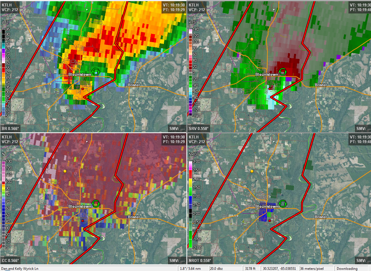 A 4-panel image from the Tallahassee, FL (KTLH) radar valid 1020 UTC 17 November 2014. Clockwise from top left, the images depict base reflectivity, storm-relative velocity, rotational velocity and correlation coefficient, all on the 0.5-degree slice.