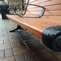 An iced bench in Kelman Plaza in Downtown Tallahassee, FL. Photo submitted by NWS employee, Alex Lamers via Twitter.
