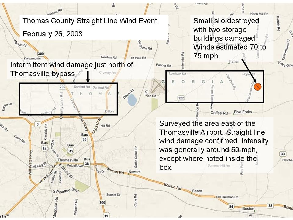 Damage areas surveyed on Thomas County, GA, from severe thunderstorms of February 26, 2008. The orange circle indicates that area of maximum damage. Click on the image for a larger view.
