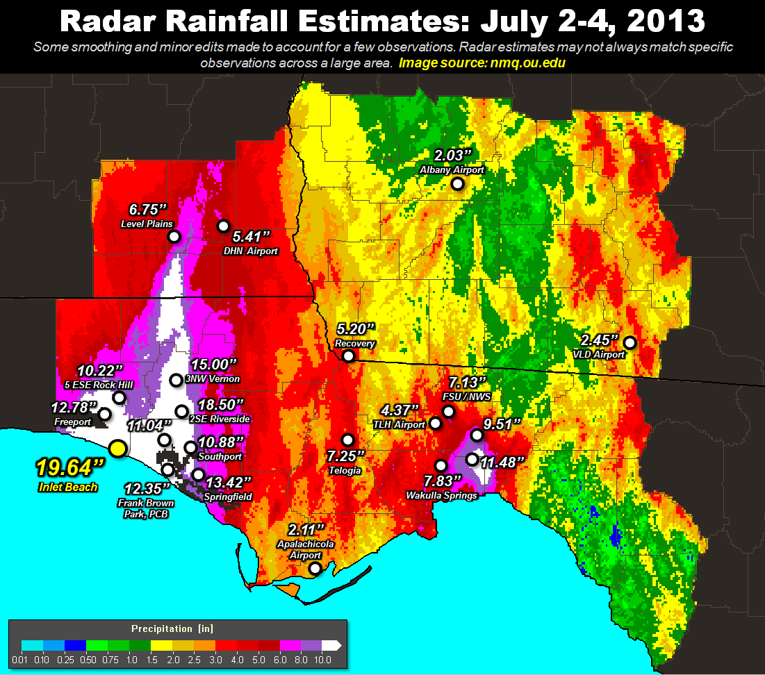Rainfall totals across the NWS Tallahassee County Warning Area from July 2-4, 2013.