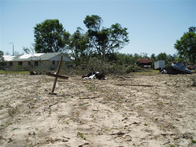 This image shows damage sustained by a home in Worth County, GA, from a tornado that struck early Sunday morning, April 15, 2007.